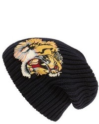 Gucci Embroidered Wool Beanie Blue