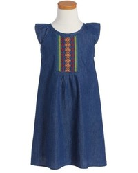 Roxy Girls A La Noche Embroidered Denim Shift Dress