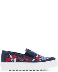 Salvatore Ferragamo Embroidered Denim Slip On Sneakers