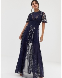 Amelia Rose Embroidered Lace Front Maxi Dress Inserts In Navy