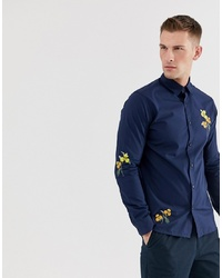 Selected Homme Regular Fit Shirt With Embroidery In Navy