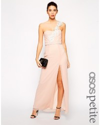 d1a89ffe11b ... Asos Petite Maxi Dress With Crochet One Shoulder