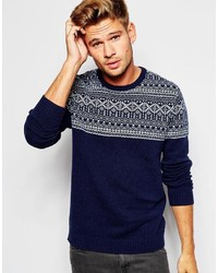 Brand lambswool rich sweater with placet fairisle medium 360984