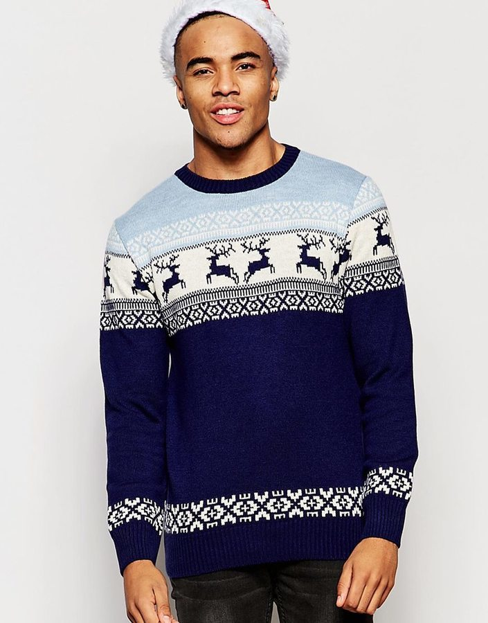 Vacant Deer Fair Isle Knitted Holidays Sweater | Where to buy ...