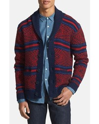 PRPS Pattern Lambswool Shawl Cardigan Red Blue Navy Small