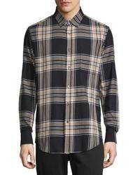 Navy Flannel Long Sleeve Shirt