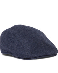 Brunello Cucinelli Leather Trimmed Wool Felt Flat Cap