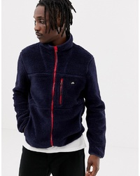 Penfield Honan Borg Fleece Jacket Contrast Zip In Navy