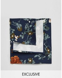 Reclaimed Vintage Floral Pocket Square In Navy