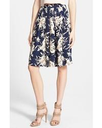 Navy Floral Full Skirt