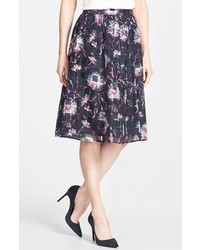 Halogen Floral Check Full Midi Skirt