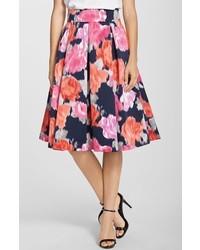 Eliza J Floral Print Faille Midi Skirt