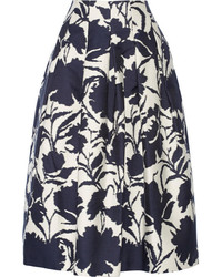 Oscar de la Renta Printed Cotton And Silk Blend Midi Skirt