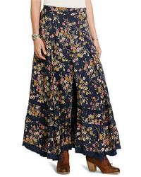 Navy Floral Maxi Skirt