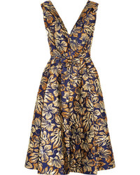 Prada Floral Jacquard Midi Dress Navy