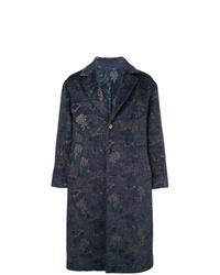 Navy Floral Overcoat