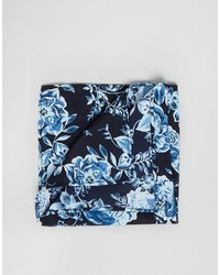 Asos Pocket Square With Floral Design In Navy