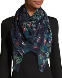 Navy Floral Silk Scarf