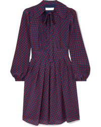 MICHAEL Michael Kors Pussy Bow Printed Silk Crepe De Chine Mini Dress