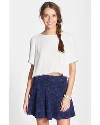 Frenchi Floral Jacquard Skater Skirt