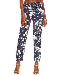 Navy Floral Skinny Pants