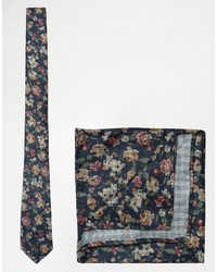 Asos Floral Tie And Pocket Square Pack In Navy
