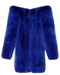 Saint Laurent Exaggerated Shoulder Fox Fur Coat
