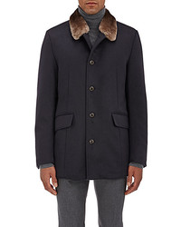 Gimos Fur Collar Shearling Lined Cashmere Coat Navy