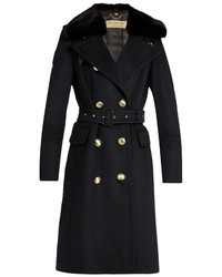 Burberry London Brickhill Detachable Rabbit Fur Collar Coat