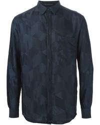 Navy Geometric Dress Shirt