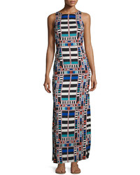 Navy Geometric Maxi Dress
