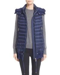 Moncler Amarante Water Resistant Ruffle Hem Down Puffer Vest