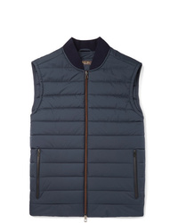 Loro Piana Ontario Slim Fit Green Storm System Quilted Shell Gilet