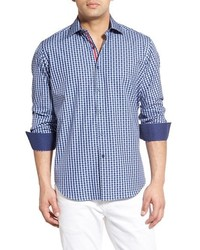 Shaped fit dobby gingham sport shirt medium 578902