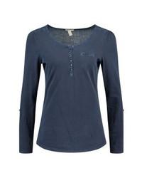 Esprit Oil Dye Long Sleeved Top Navy
