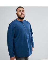 replika Plus Long Sleeve Henley T Shirt In Blue