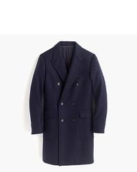 Navy Herringbone Overcoat