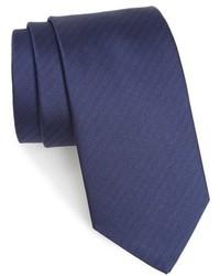 Navy Herringbone Silk Tie