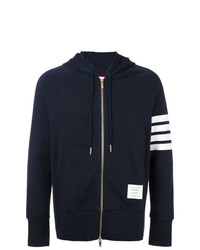 Thom Browne Classic Full Zip Hoodie With Engineered 4 Bar In Classic Loop Back