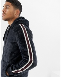Soul Star Zip Through Teddy Hoodie With Taping