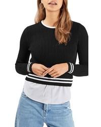 Topshop Mixed Stripe Layer Top