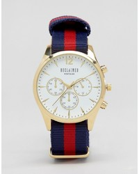 Reclaimed Vintage Chronograph Stripe Canvas Watch With White Dial