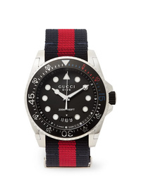Gucci Dive 45mm Stainless Steel And Webbing Watch