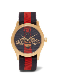 Gucci Gold Tone And Striped Webbing Watch