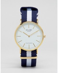 Inspired navy stripe canvas watch with white dial to asos medium 798485