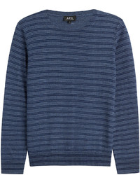 Navy Horizontal Striped Crew-neck Sweater