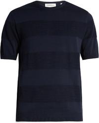 Navy Horizontal Striped Crew-neck T-shirt