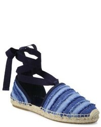 Jimmy Choo Dolphin Denim Lace Up Espadrille Flats
