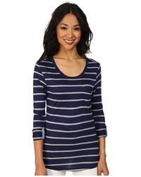 Navy Horizontal Striped Long Sleeve T-shirt