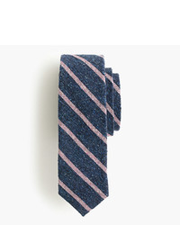 Navy Horizontal Striped Silk Tie